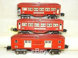 Clean Set Of Lionel O Scale Pre-war Tinplate Lighted Passenger Cars Ready To Run