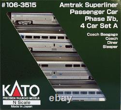 Superliner 4-Car Set Phase IVb With Interior Lights Ready to Run - Amtrak Set