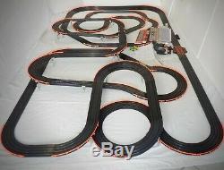 Énorme 66' Afx Tomy Super G-plus Géant Raceway Piste Emplacement Set Voiture, Prêt À Fonctionner