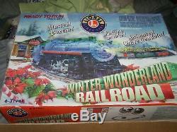 Lionel Train Rail Road Winter Wonderland Prêt À Courir Grand 40x60 Ovale Piste