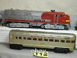 Marx O Échelle 6 Pièces De Voiture De Tourisme Locomotive Diesel Santa Fe Prêt À Courir